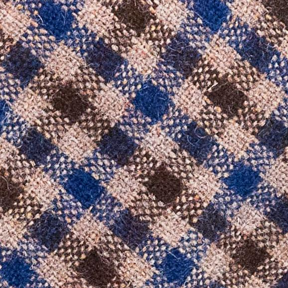 Check Wool Hand Rolled Tie - Blue and Brown