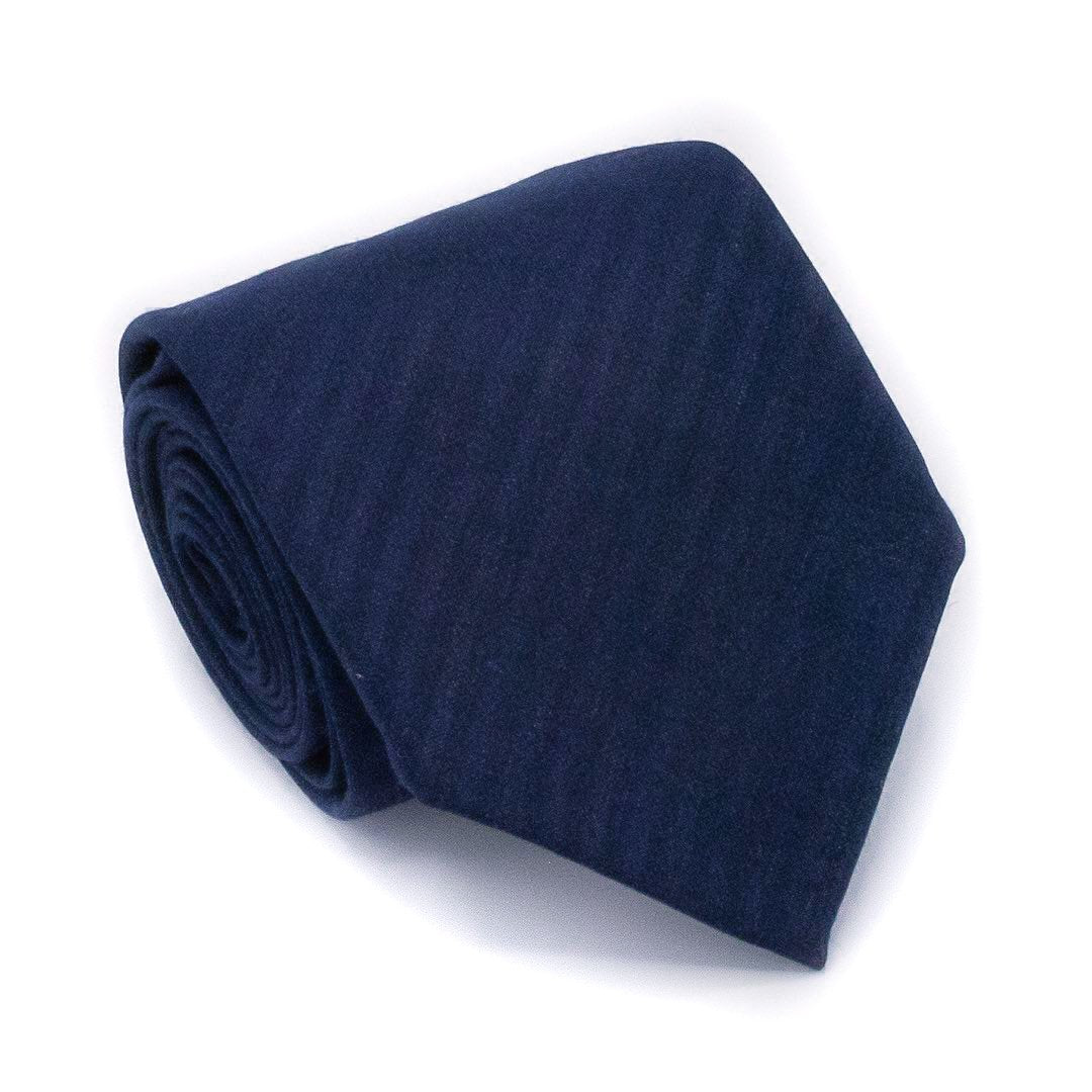 Self Stripe Wool Hand Rolled Tie - Blue