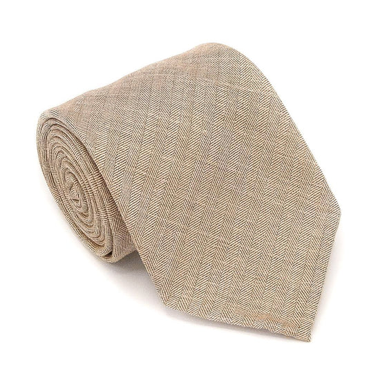 Herringbone Wool Hand Rolled Tie - Brown