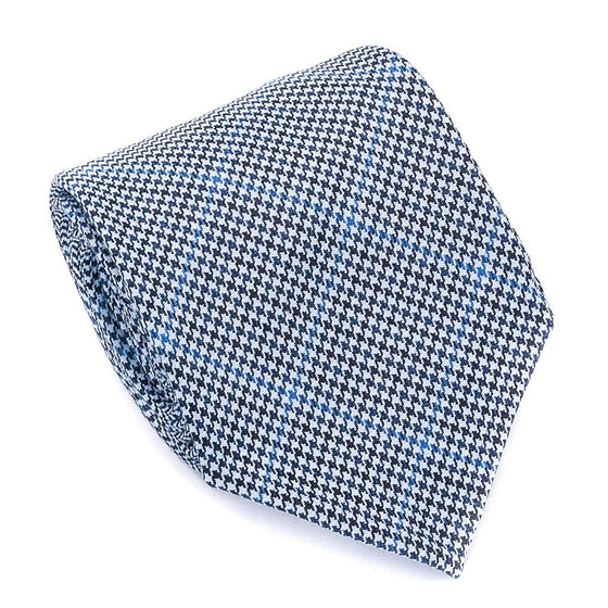 Check Wool Hand Rolled Tie - Blue