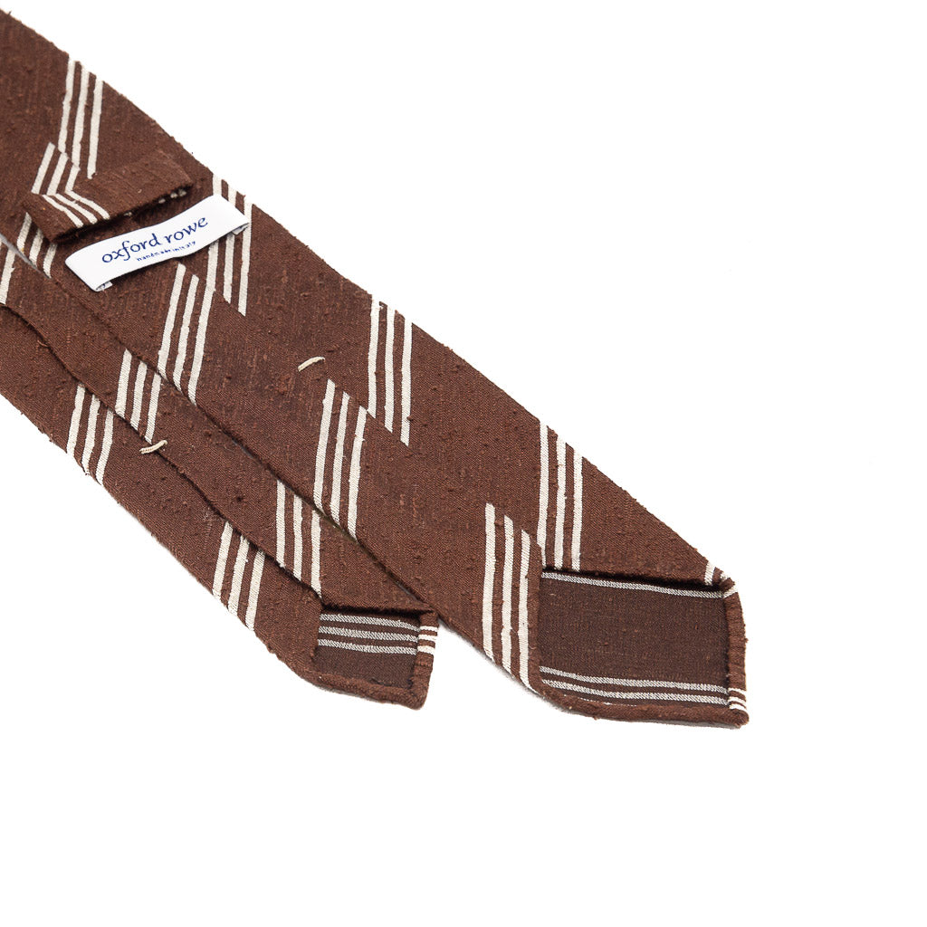 Triple Stripe Shantung Hand Rolled Tie - Brown - Oxford Rowe
