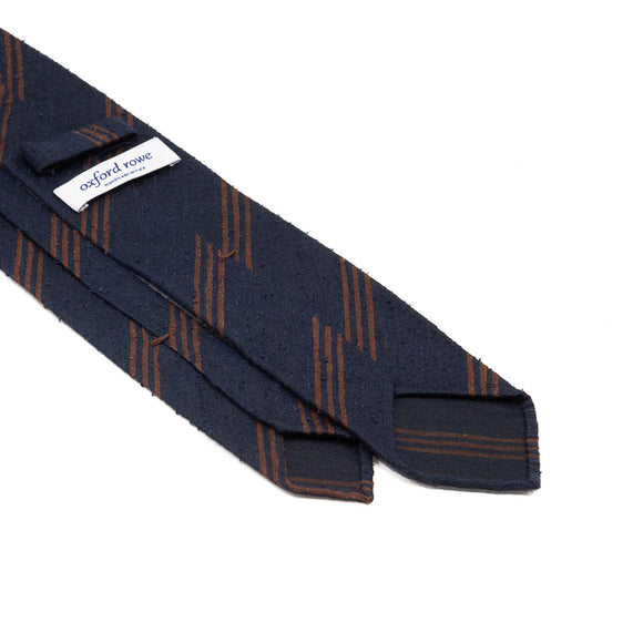 Triple Stripe Shantung Hand Rolled Tie - Navy - Oxford Rowe