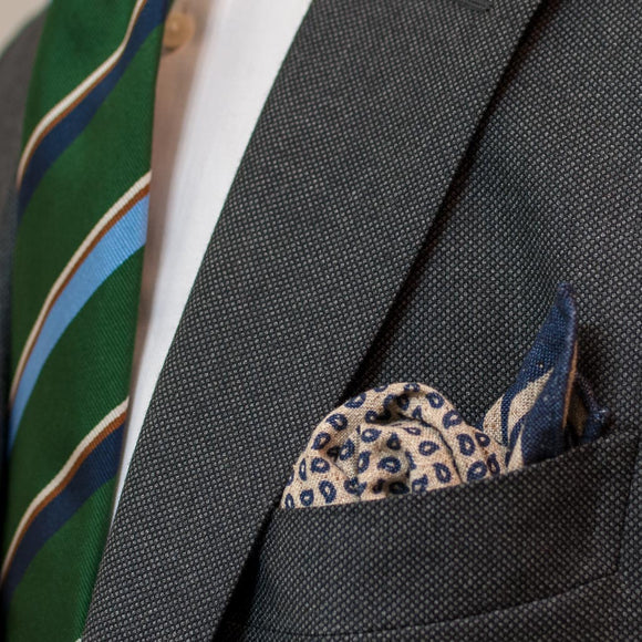 fd452a3a3e0c1 ... Paisley Cotton and Silk Pocket Square - Light Brown - Oxford Rowe
