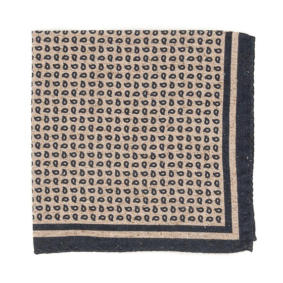 Paisley Cotton and Silk Pocket Square - Light Brown - Oxford Rowe