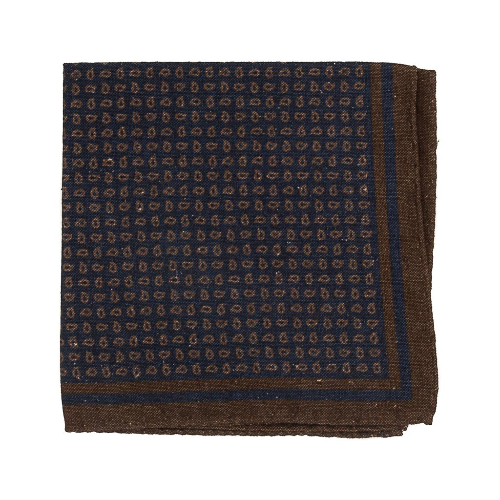 Paisley Cotton and Silk Pocket Square - Navy - Oxford Rowe