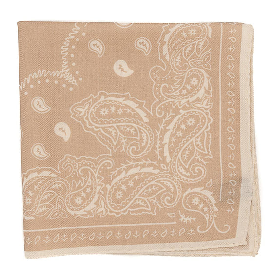 Paisley Wool and Silk Pocket Square - Beige - Oxford Rowe
