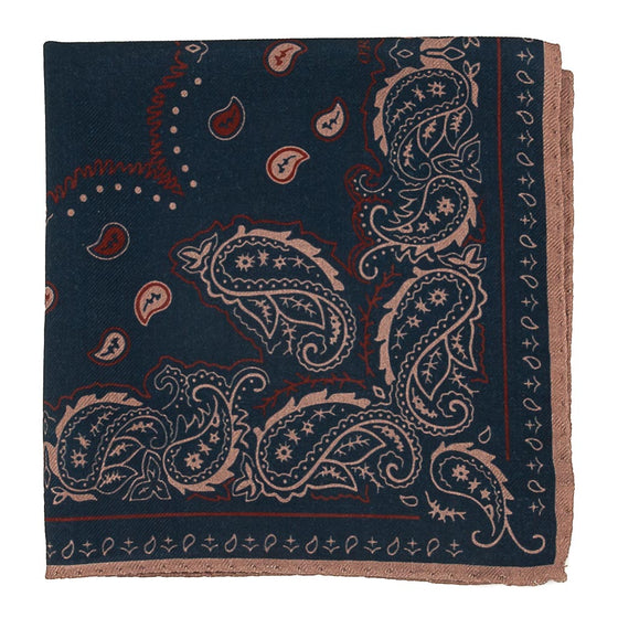 Paisley Wool and Silk Pocket Square - Navy - Oxford Rowe