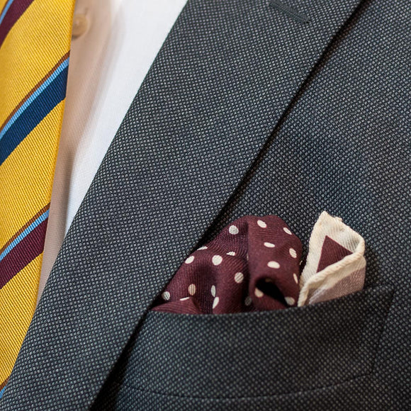 Polka Dot Wool and Silk Pocket Square - Burgundy and Cream - Oxford Rowe