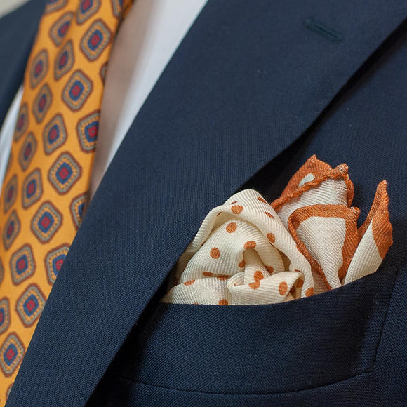 Polka Dot Wool and Silk Pocket Square - Cream and Rust - Oxford Rowe