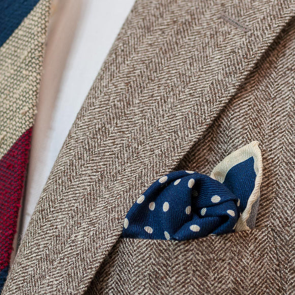 Polka Dot Wool and Silk Pocket Square - Navy and Cream - Oxford Rowe