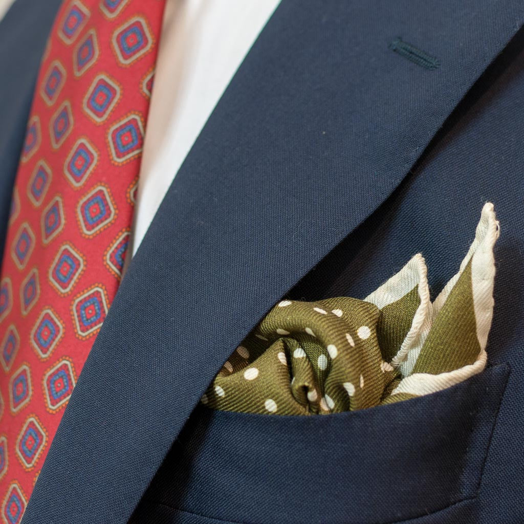 Polka Dot Wool and Silk Pocket Square - Olive and Cream - Oxford Rowe