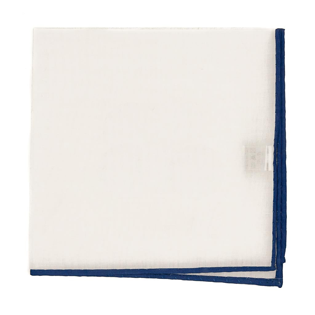 Solid White Cotton Pocket Square - Blue Trim - Oxford Rowe