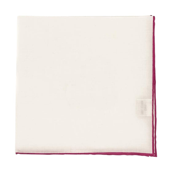 Solid White Cotton Pocket Square - Pink Trim - Oxford Rowe