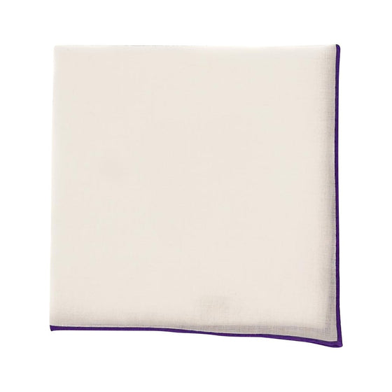 Solid White Cotton Pocket Square - Purple Trim - Oxford Rowe