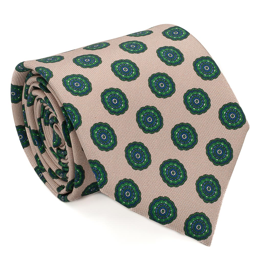 Medallion Foulard Printed Silk Tie - Wheat - Oxford Rowe
