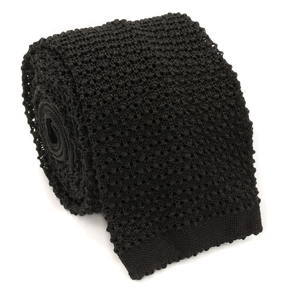 Crunchy Silk Knit Tie - Black - Oxford Rowe