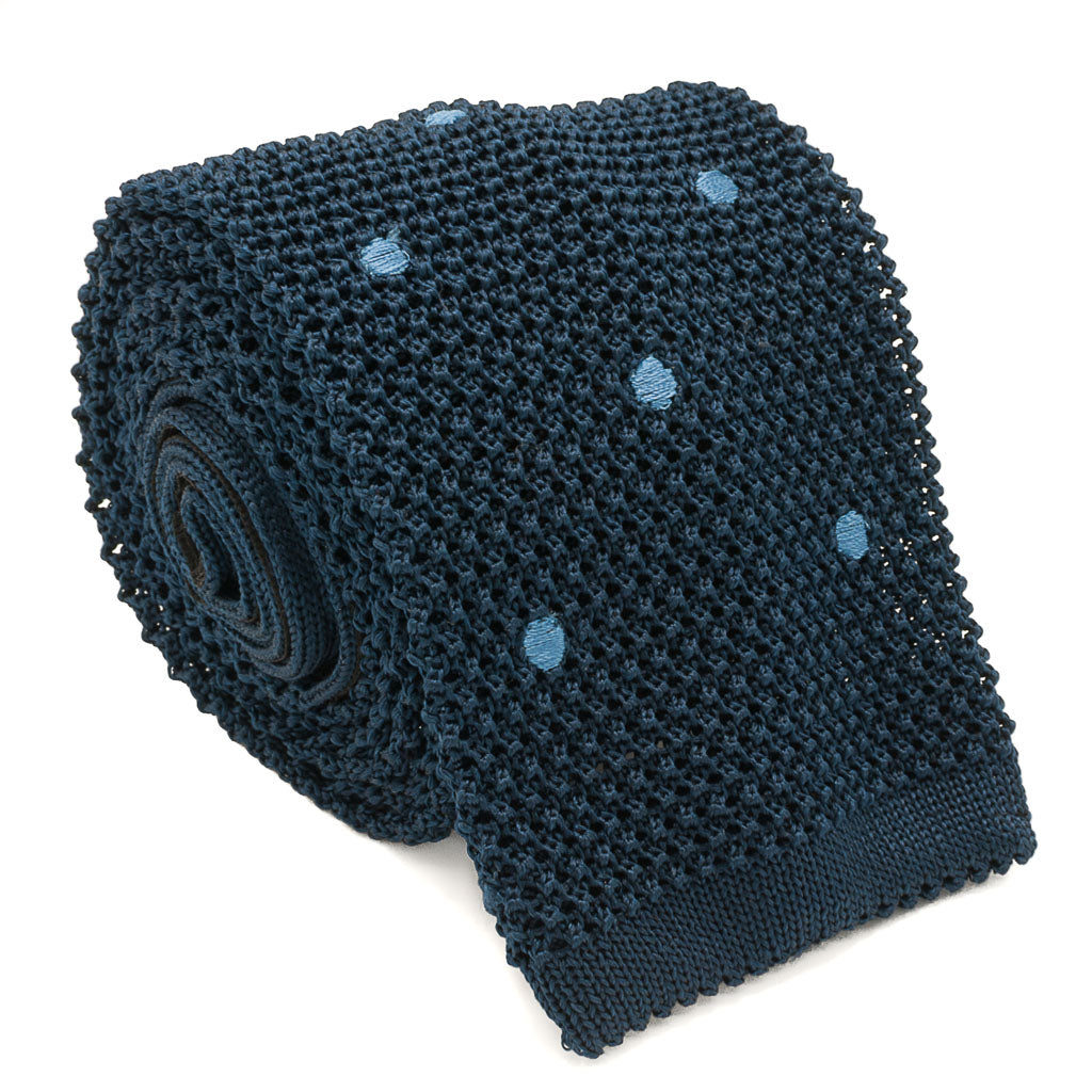Polka Dot Silk Knit Tie - Blue - Oxford Rowe