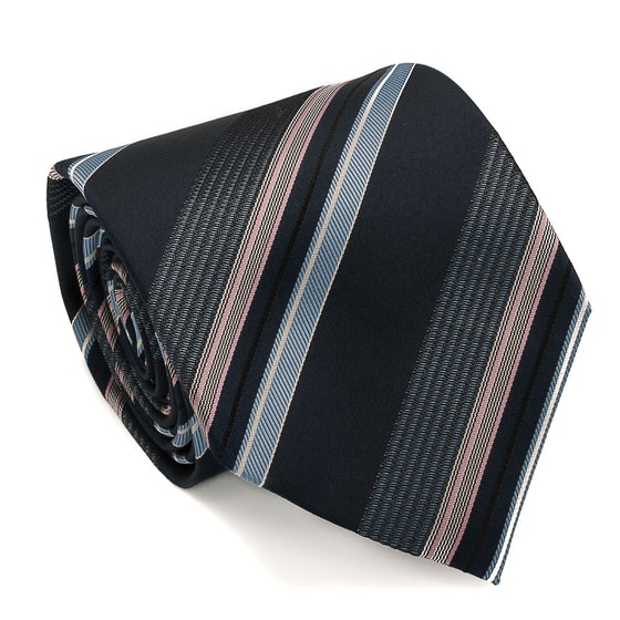 Striped Woven Silk Tie - Blue - Oxford Rowe