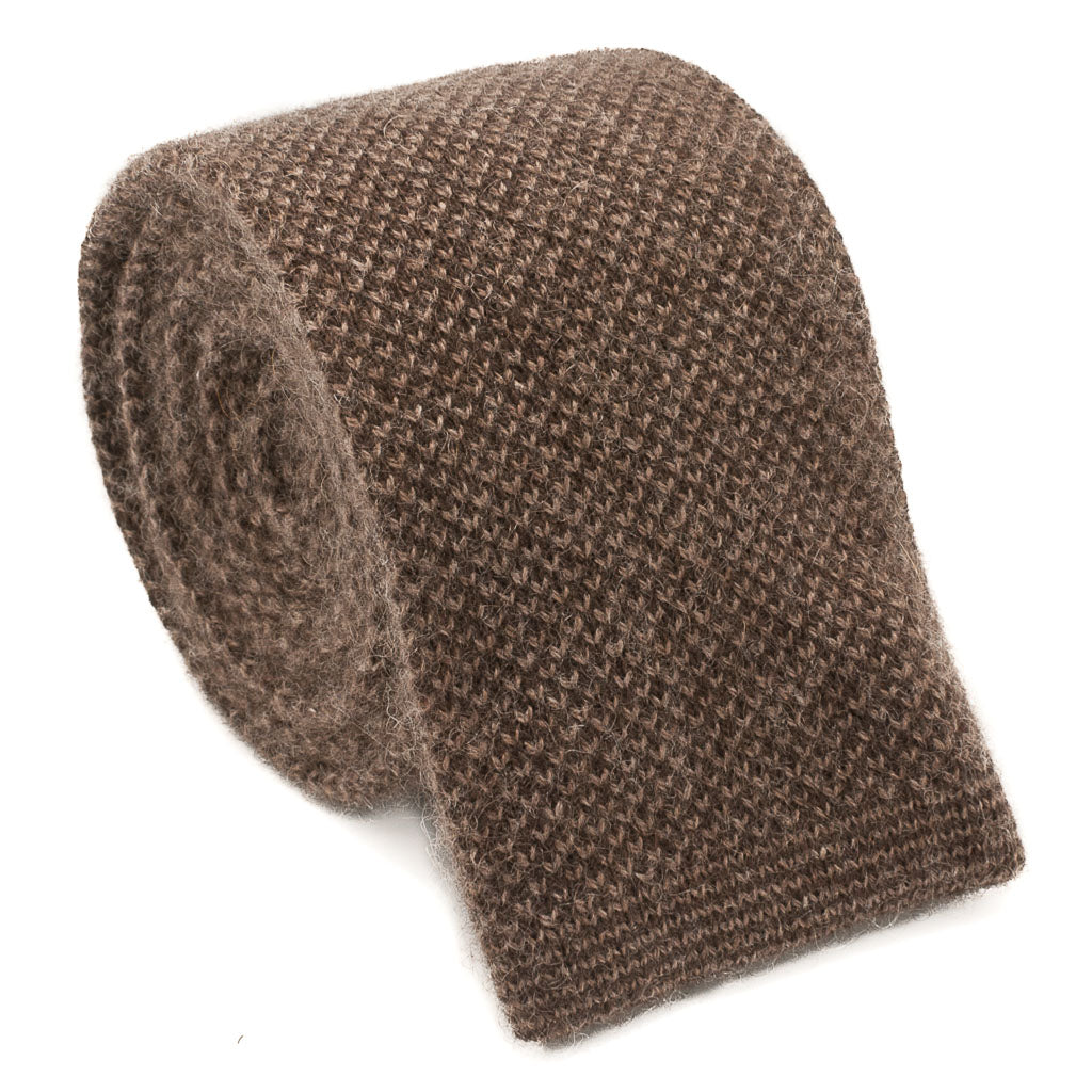 Cashmere Knit Tie - Brown - Oxford Rowe