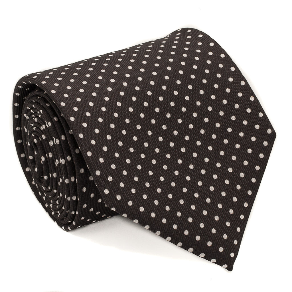 Polka Dot Printed Silk Tie - Brown - Oxford Rowe