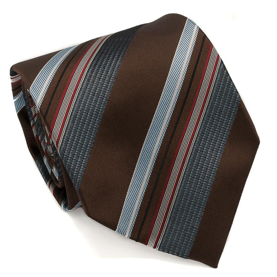 Striped Woven Silk Tie - Brown - Oxford Rowe