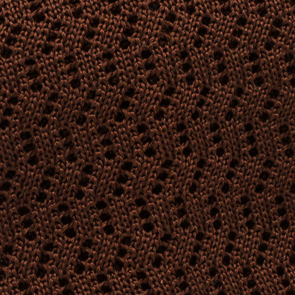 Zig Zag Silk Knit Tie - Brown - Oxford Rowe