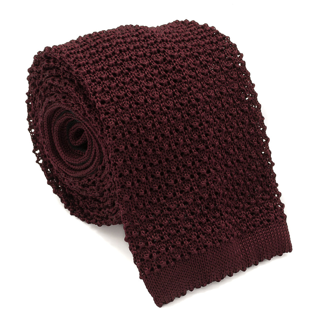 Crunchy Silk Knit Tie - Merlot - Oxford Rowe