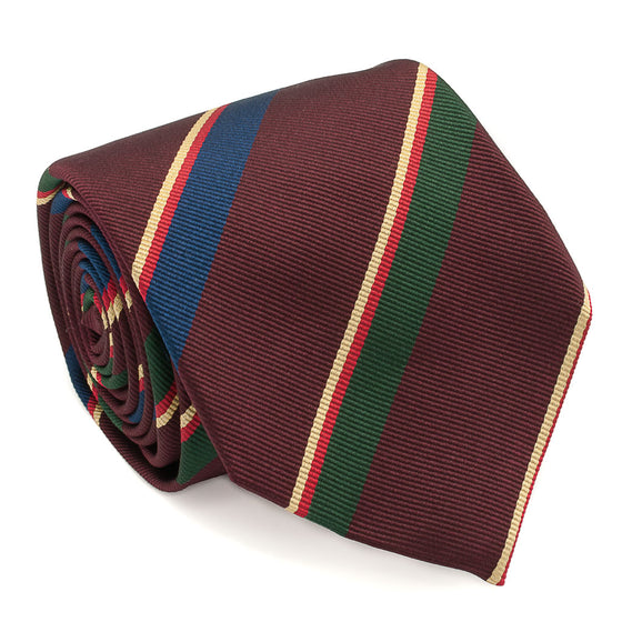 Repp Stripe Woven Silk Tie - Burgundy - Oxford Rowe