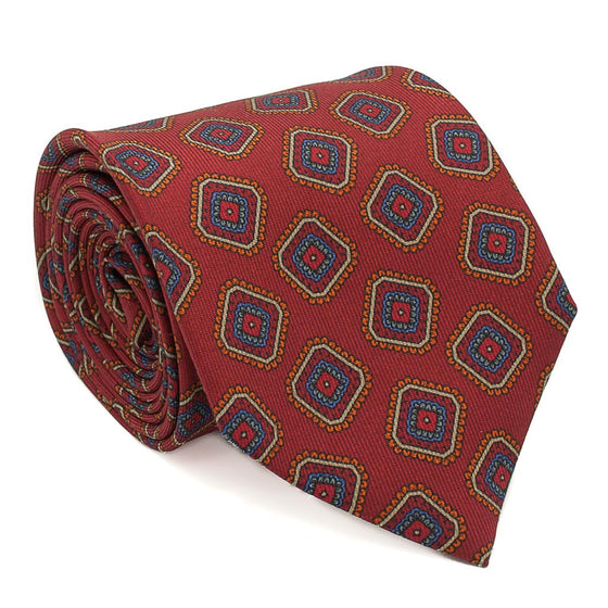 Box Patterned Printed Silk Tie - Coral - Oxford Rowe