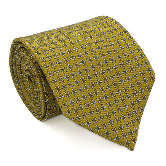 Floral Foulard Printed Silk Tie - Gold - Oxford Rowe