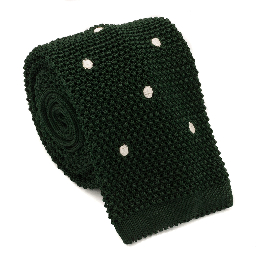 Polka Dot Silk Knit Tie - Green - Oxford Rowe