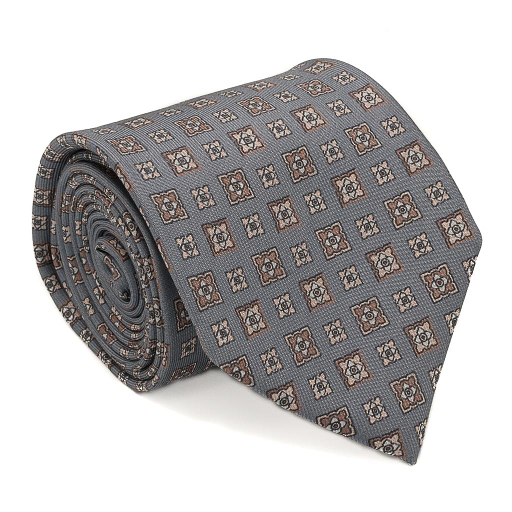 Diamond Foulard Printed Silk Tie - Grey - Oxford Rowe