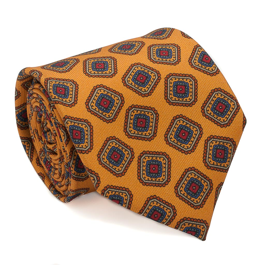 Box Patterned Printed Silk Tie - Mustard - Oxford Rowe