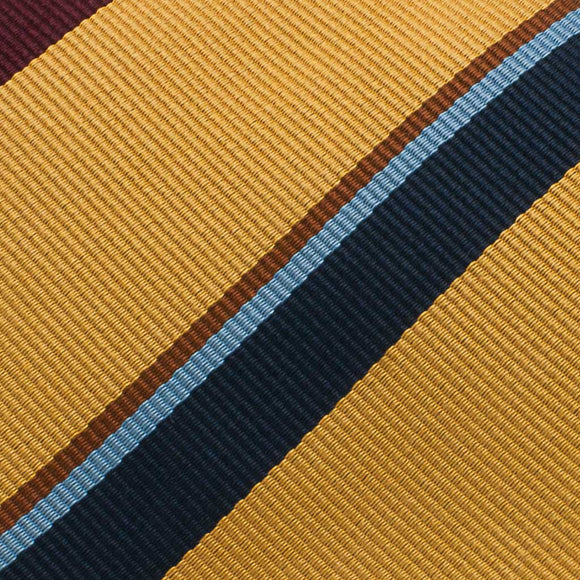 Repp Stripe Woven Silk Tie - Mustard - Oxford Rowe