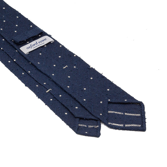 Polka Dot Grenadine Shantung Hand Rolled Tie - Navy - Oxford Rowe