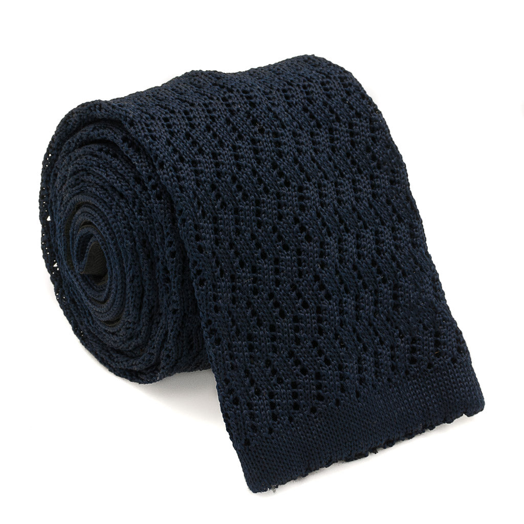 Zig Zag Silk Knit Tie - Navy - Oxford Rowe