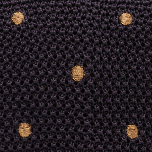 Polka Dot Silk Knit Tie - Purple - Oxford Rowe