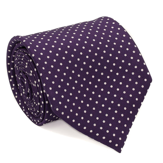 Polka Dot Printed Silk Tie - Plum - Oxford Rowe