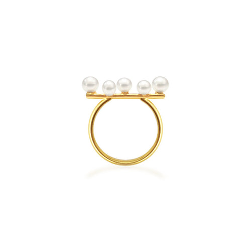 Bubbled collection ring yellow gold with south sea pearl keshi's