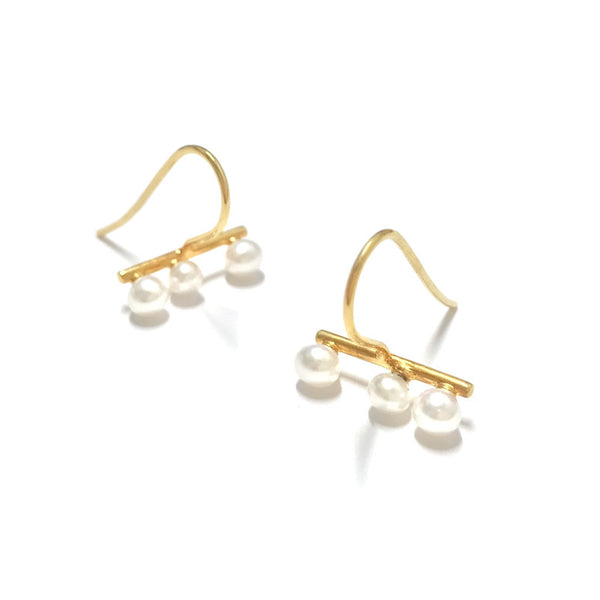 Bubbled collection earrings 03 yellow gold with south sea pearl keshi's