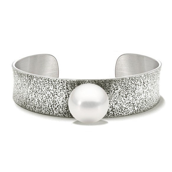 Fused collection cuff sterling silver with south sea pearl