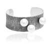 Fused collection cuff 02 sterling silver with south sea pearls