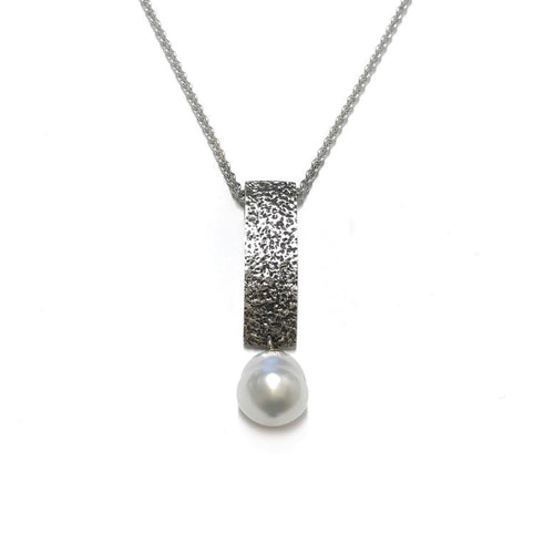 Fused collection pendant 01 sterling silver with south sea pearl