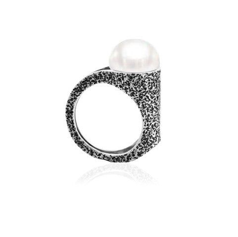 Fused Collection Ring 102 Sterling Silver and South Sea pearl