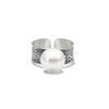 Fused collection ring sterling silver with south sea pearl