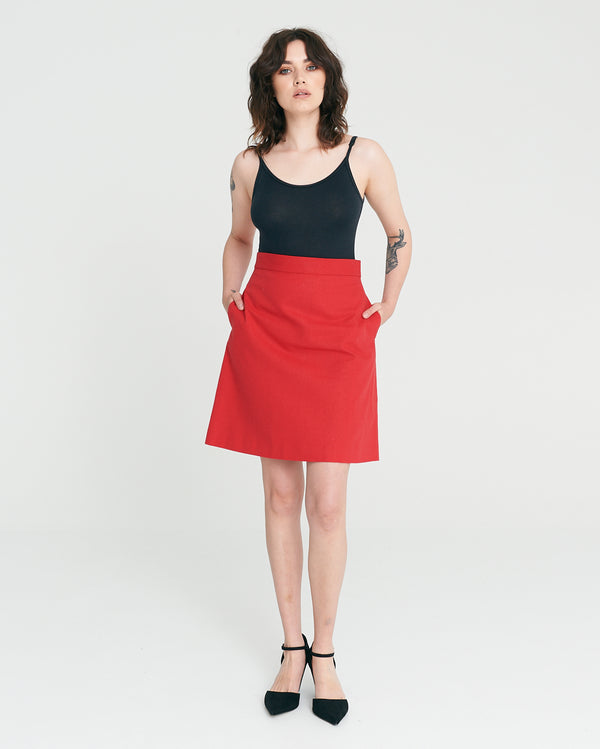 Rebel A-line Skirt - Cherry