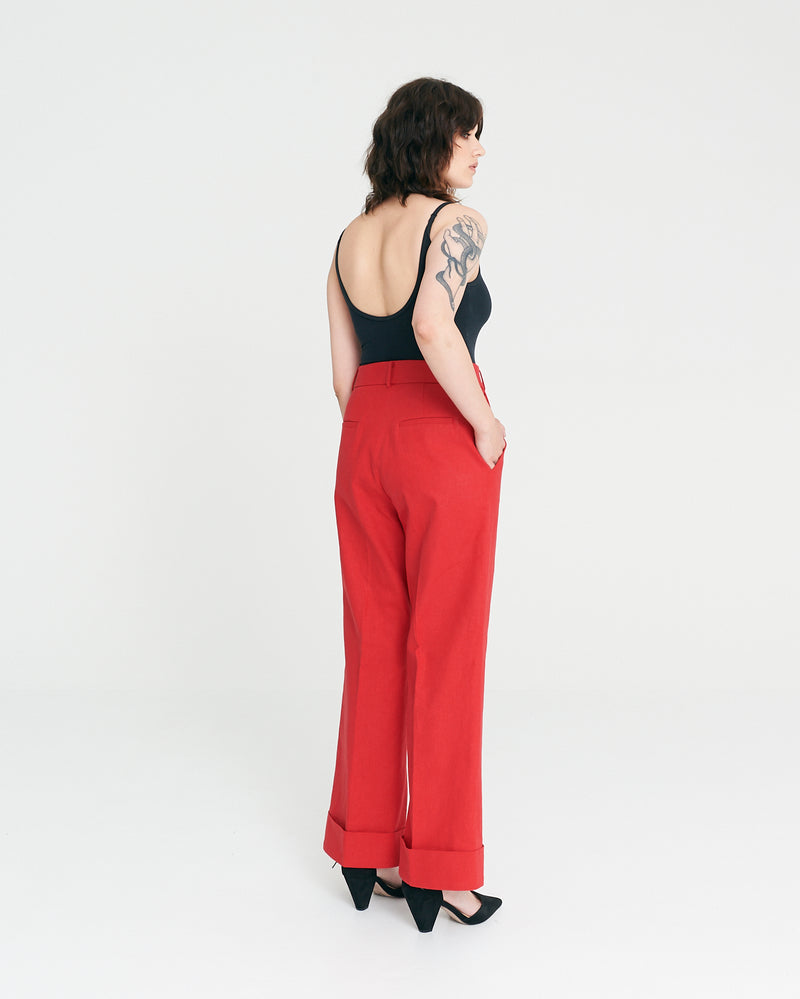 Kiss Wide Leg Pant - Cherry
