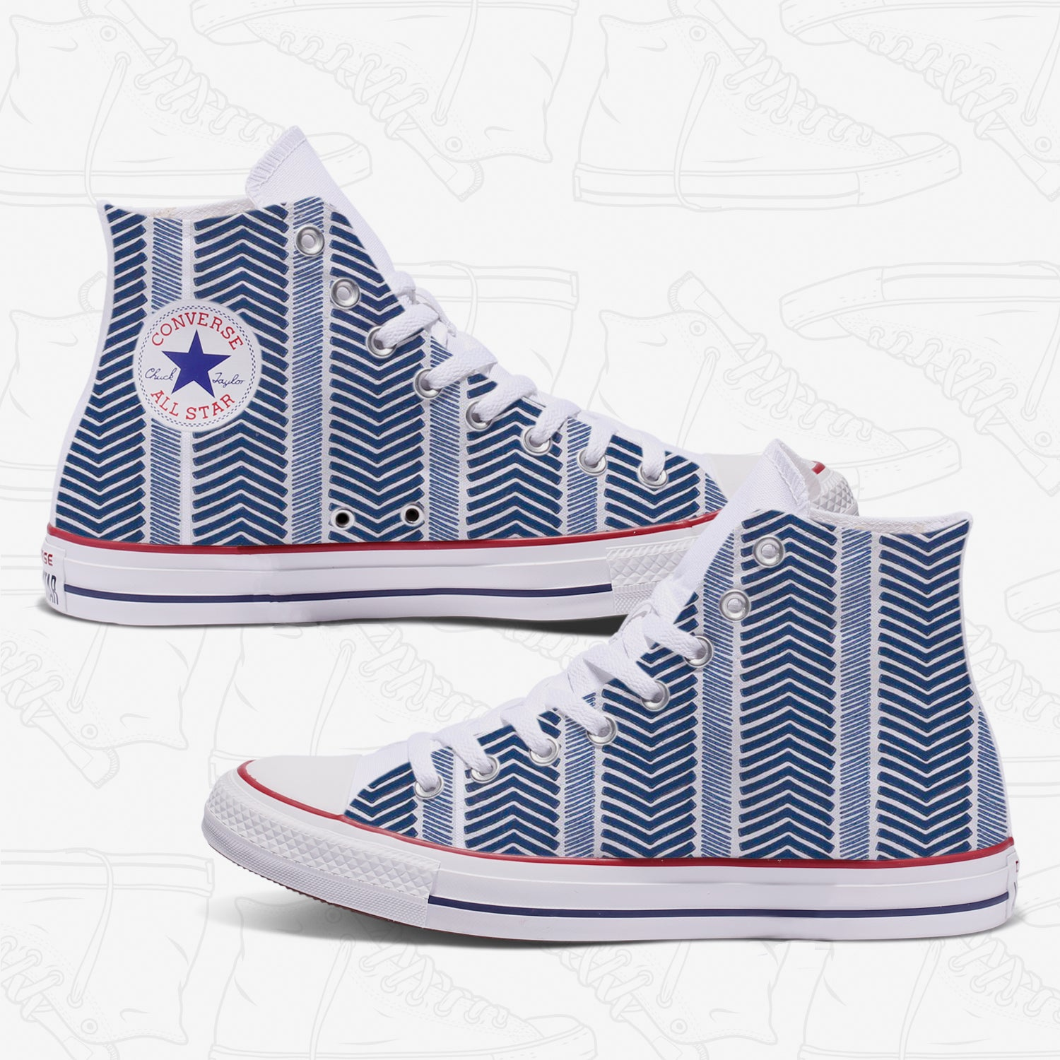 Blue Herringbone Custom Converse