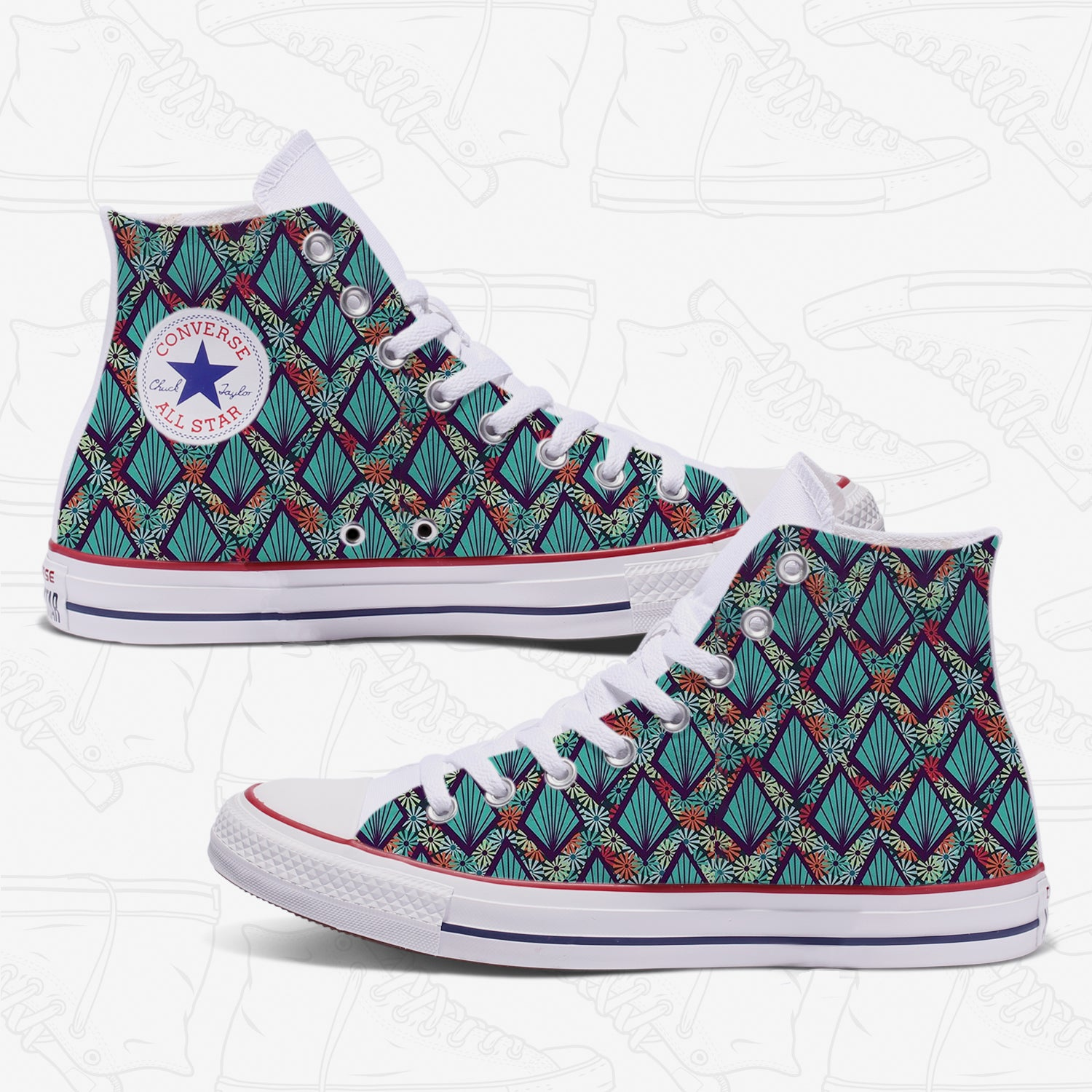Diamond Pattern Womans Custom Converse