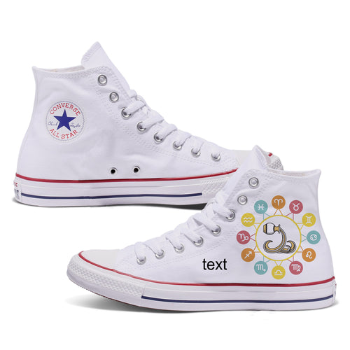 Aquarius Zodiac Custom Converse White